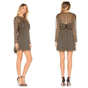 Astr Revolve Winnie black gold polka dot dress XS